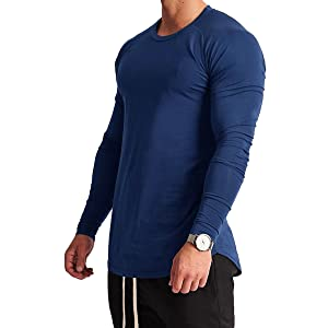 Magiftbox Mens Lightweight Cotton Workout Long Sleeve T-Shirts Essential Training Tee