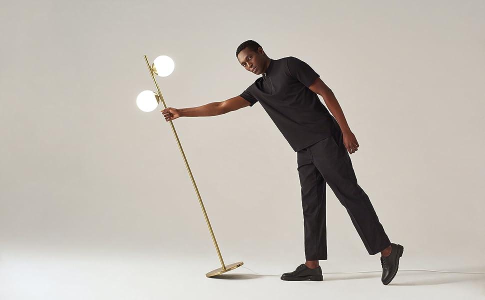 Brightech Sphere - Mid Century Modern 2 Globe Floor Lamp for Living Room Bright Lighting
