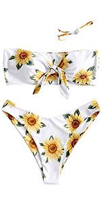 ZAFUL Knot Sunflower Print Bikini Set