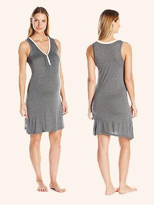Intimates womens maternity short sleeve shirt elastic waist pajama breastfeeding