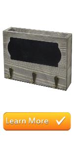 vintage gray wood chalkboard label wall mounted entryway shelf mail storage key hooks organizer