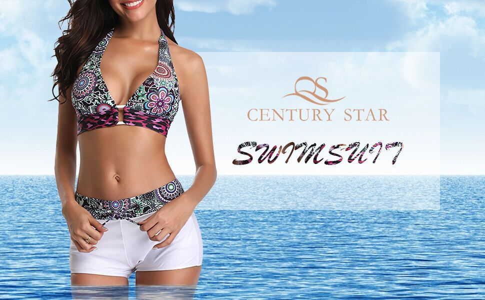 Century Star Womens Two Piece Swimsuit Halter Printed Top with Boyshort Bottoms Fashion Bathing Suit