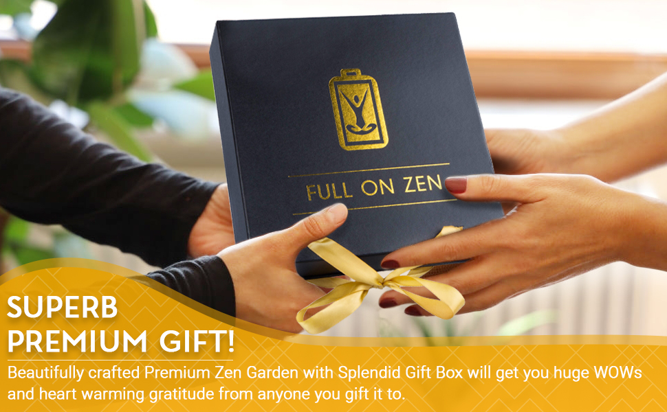 Full on Zen Premium Zen Garden is a Superb Gift! Image shows it being given with love and care