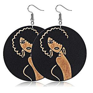 Black Girl Magic Wooden Earrings Black Girl Magic-Afro Woman Earrings-Black History 1 pair Afrocentric Jewelry Qty Natural Hair Jewelry