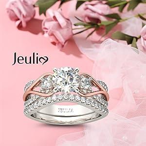 Jeulia 2.5 carat three stone round cut ring set