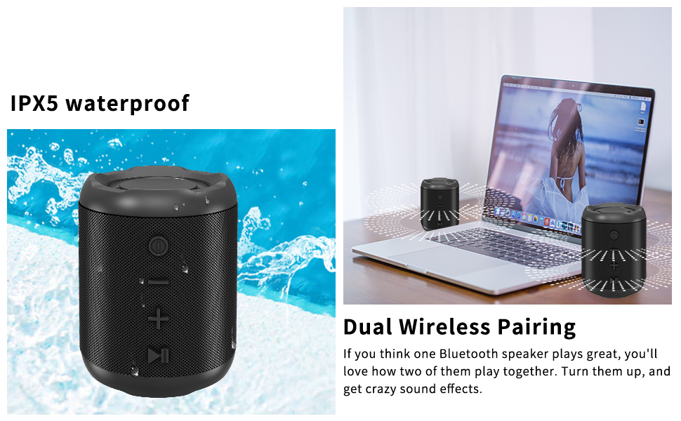 4  [Upgraded] Bluetooth Speakers,MusiBaby Bluetooth Speaker 5.0,Outdoor,Waterproof,Wireless Speaker,Dual Pairing,Loud Stereo Sound,Booming Bass,25h Playtime for Camping,Beach,Pool,Shower(Black) c2b4305f 38cc 471e a919 938acee9f389