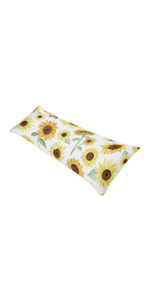Yellow, Green and White Sunflower Boho Floral Body Pillow Case Cover
