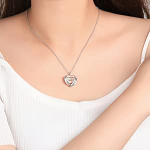 sterling silver ashes pendant necklace for woman
