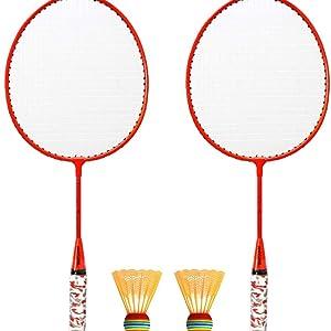 Badminton Set,1 par de Raquetas de b/ádminton con Pelotas Juego de b/ádminton para 2 Jugadores para ni/ños Juego de Deportes al Aire Libre en Interiores Roeam Raquetas Badminton