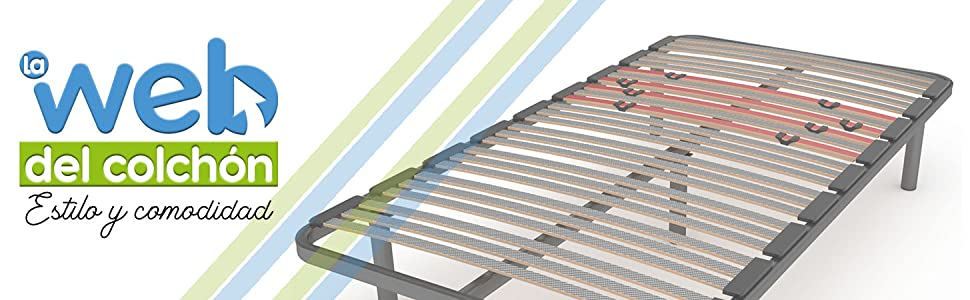 LA WEB DEL COLCHON Somier Multiláminas Regulador (*) 70 x 180 x 5 cms. (4 Patas Incluidas)