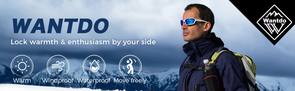 Wantdo 3-in-1 Men's Winter Coat Ski Jacket Waterproof Hiking Coat