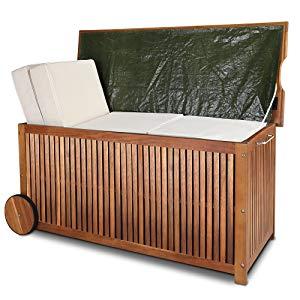 Deuba Baúl de madera con funda interior de protección agarraderos y ruedas de goma almacenaje de exterior jardín terraza: Amazon.es: Jardín