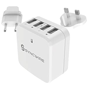 Syncwire 34W 4-Port USB Wall Charger, Multi-Port [Foldable US Plug] Travel Power Adapter with Interchangeable UK/EU Plug for Apple iPhone, iPad, ...