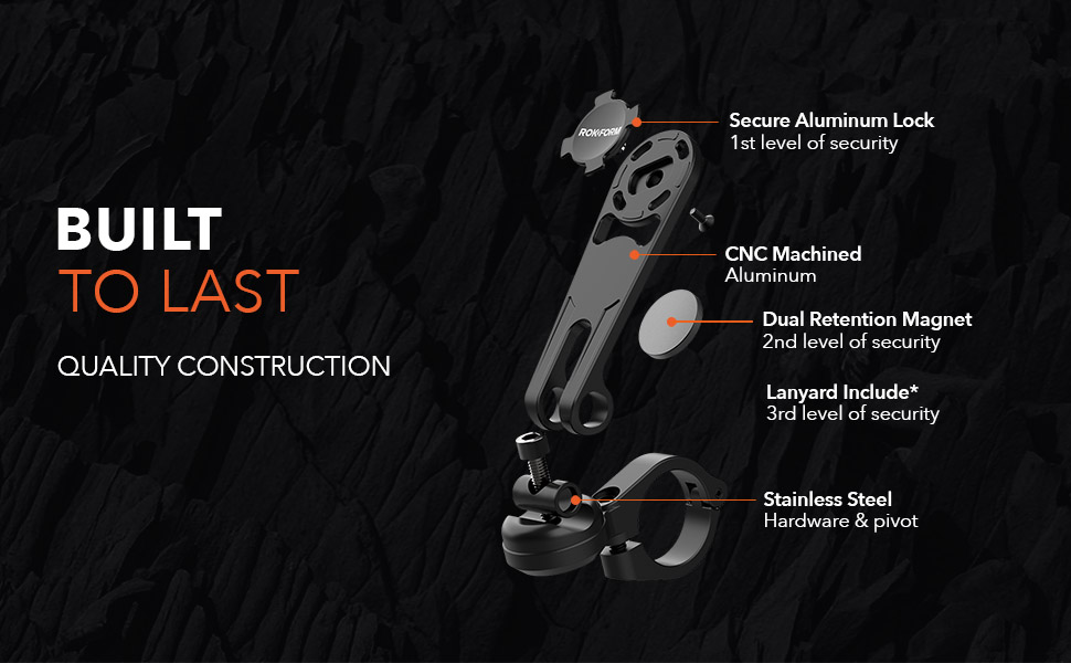quality construction, twist lock mount, aluminum, magnetic, stainless steel rokform motorcycle mount