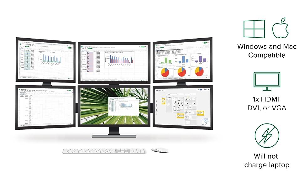 displaylink dvi hdmi vga graphics adapter video multiple monitors