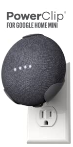 Google Home Mini, POwerClip, Outlet, Plug, mount, hands-free, adapter, GHM, replacement plug, micro