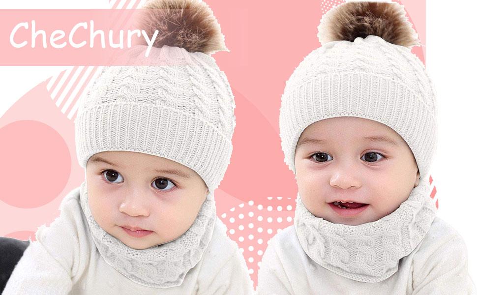 CheChury Conjunto de Bufanda y Gorro de Punto Unisex Niños Niñas Invierno cálido Punto Beanie Gorros