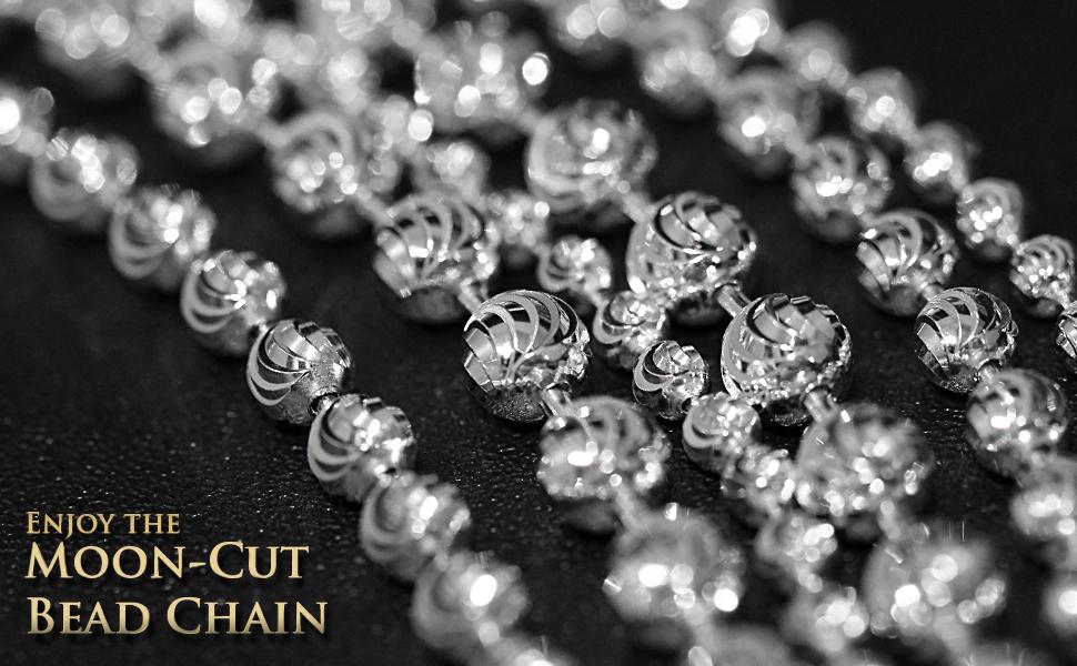 pelline solid link round circle bead beaded military dog tag moon cut diamond heavy duty