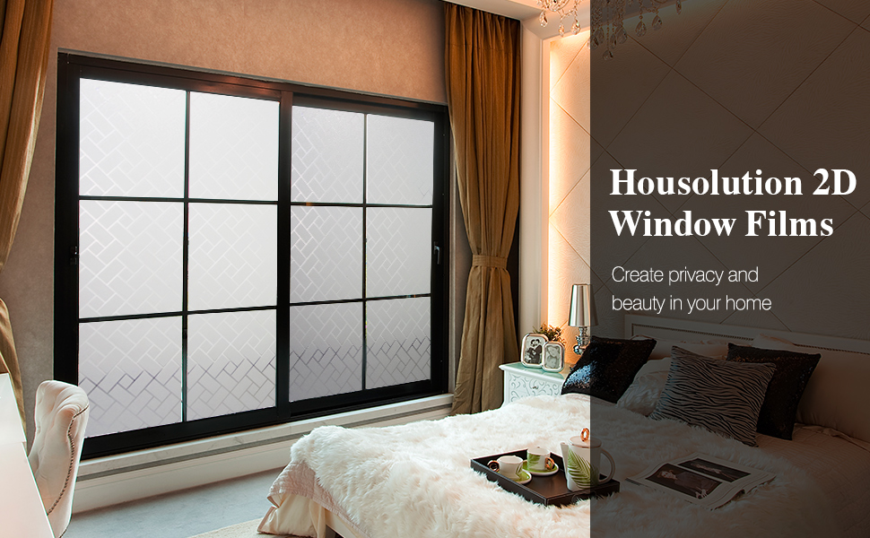 78.7 x 17.7 in Diagonal Plaid Housolution 2D Privacy Window Films No-Glue Static Privacy PVC Window Films Non-Adhesive Frosted Glass Sticker Heat Control Anti UV Protective Cover for Home Decor