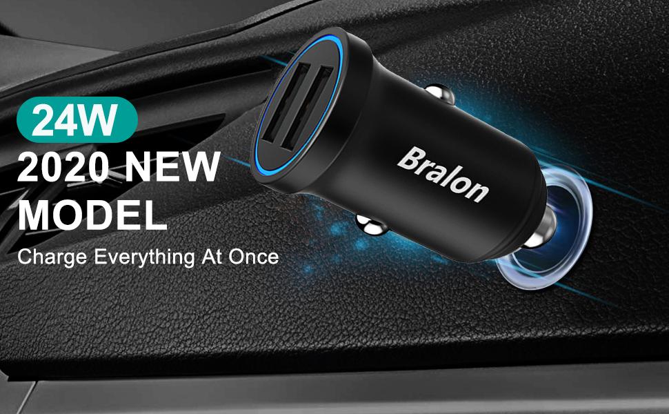 Cargador de Coche Mini 24 W 4,8 A de Metal Dual USB PowerDrive 2 Adaptador de Coche de aleaci/ón con LED Azul HTC y m/ás Anker para iPhone XR//Xs//Max//X//8//7//Plus LG Galaxy iPad Pro//Air 2//Mini
