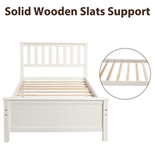 twin platform bed frame  Harper&Bright Designs Wood Platform Bed with Headboard, Footboard, Wood Slat Support, No Box Spring Needed(Twin, White) c2f74138 1973 4a5e a344 a9ef6d5e5b49