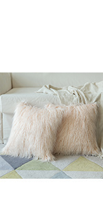 faux fur pillow covers blush pink