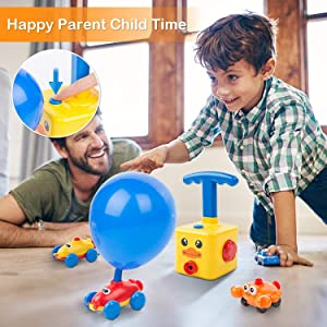 Balloon Pump Car Science Experiment Toy Hand Push Inflator Air Pump, No Battery Needs The toy featur