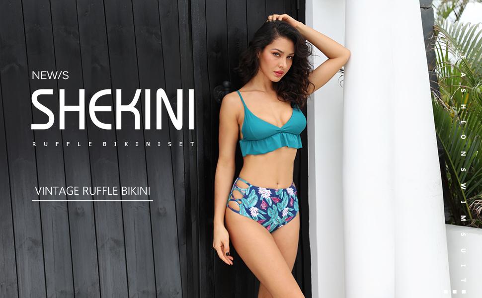 Amazon com: SHEKINI Women's Vintage Ruffle Bikini Top High