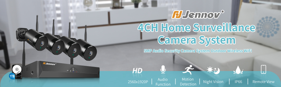 5MP Audio Security Camera System Outdoor Wireless WiFi