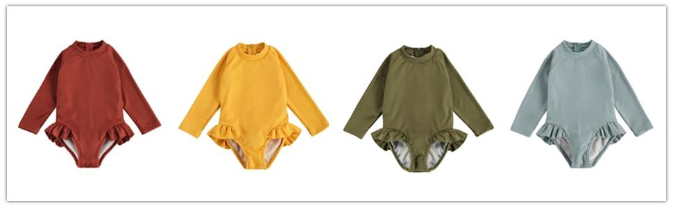 toddler girls ruffle long sleeve swimsuit bathing suit one piece