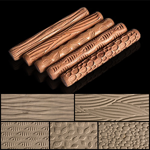 Gaetooely 5PCS Pottery Tools Wood Hand Rollers for Clay Clay Stamp Clay Pattern Roller