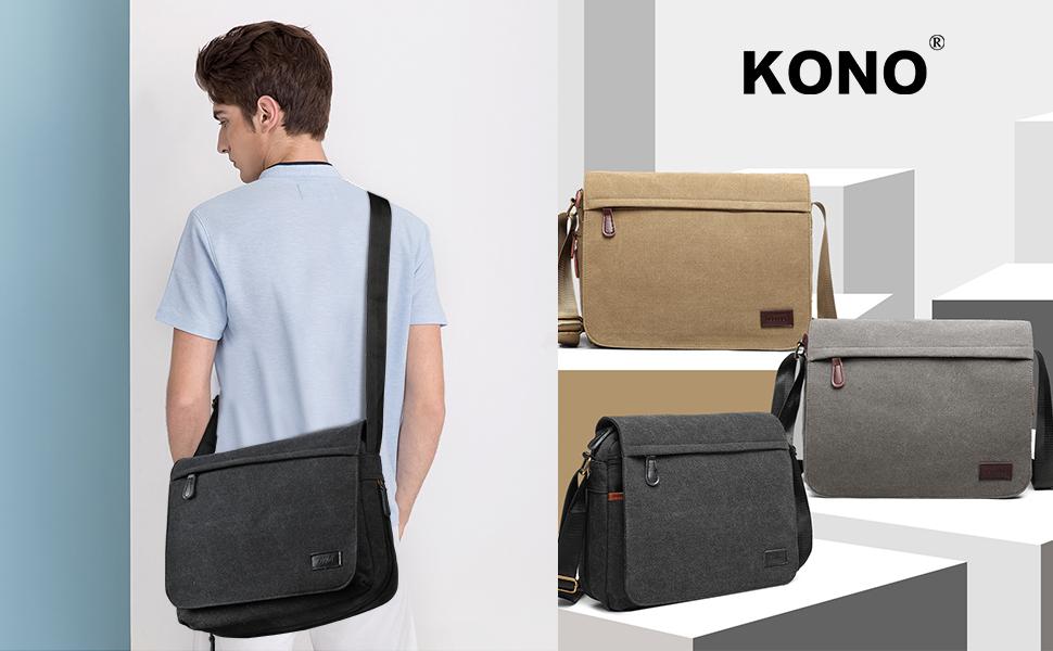 Canvas Bag Shoulder Bag Messenger Bag with Multiple Pockets