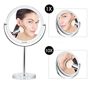 Auxmir Kosmetikspiegel mit 1X / 10x Vergrößerung, Schminkspiegel mit Standfuß