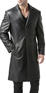 BGSD Men's Classic New Zealand Lambskin Leather Long Walking Coat