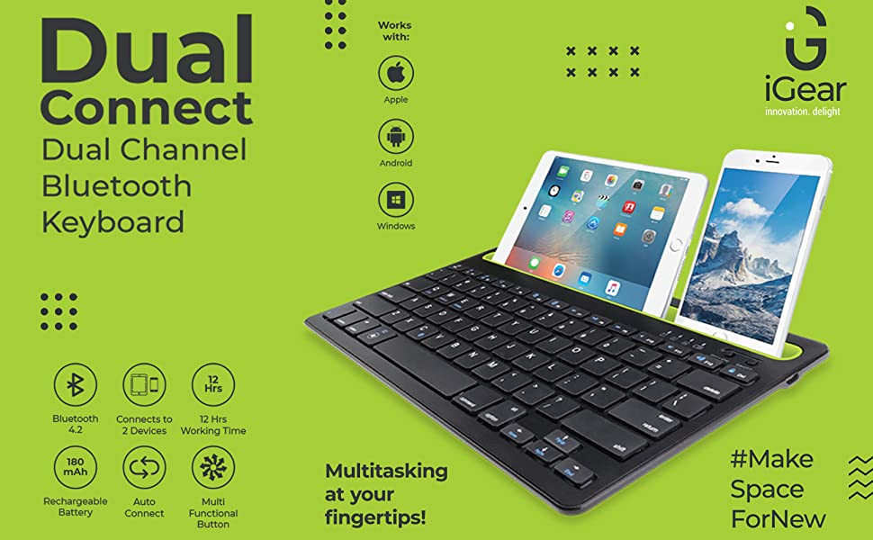 Dual Connect, Keyboard, Wireless, Mobile, Tablet, Auto Connect, Windows, iOS, Android, Dual Connect