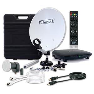 SCHWAIGER -9604- Sistema de satélites de camping digital completo | accesorios de camping | receptor de satélites único LNB | cable de satélites HD | ...