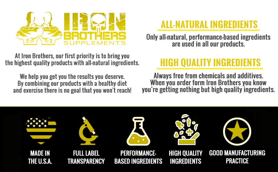 iron brothers high quality all natural ingredients performance based ingredients made in the U.S.A