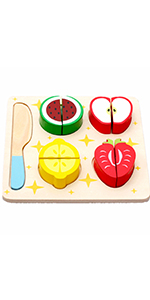 Wooden Toys Montessori Color Fruit Vegetable Dessert Shapes Geometric Puzzles, 7.1inches, Pack of 1