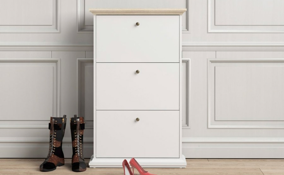 Pemberly Row 3 Drawer Shoe Cabinet in White and Oak