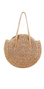 CHIC DIARY Women Straw Shoulder Bag Summer Beach Large Tote Bag Handmade Woven Handbag