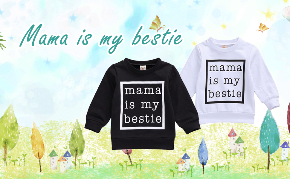 Infant Baby Girls Mama is My Bestie Print Sweater Long Sleeve Shirt Pullover Sweatshirt Top Fall Winter Clothes