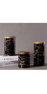 Black Marble Food Storagr Jar