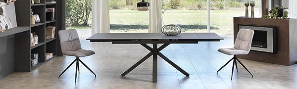 Tavolo allungabile da 160cm a 240cm con due allunghe indipendenti color grigio grafite