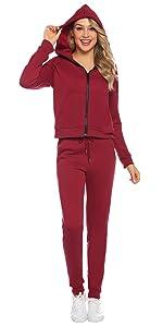 Aibrou Conjunto Ch/ándal de Mujer Sudadera con Cremallera y Pantalones Trajes de 2 Piezas Deporta Moda de Manga Larga Ropa de sal/ón Corredores