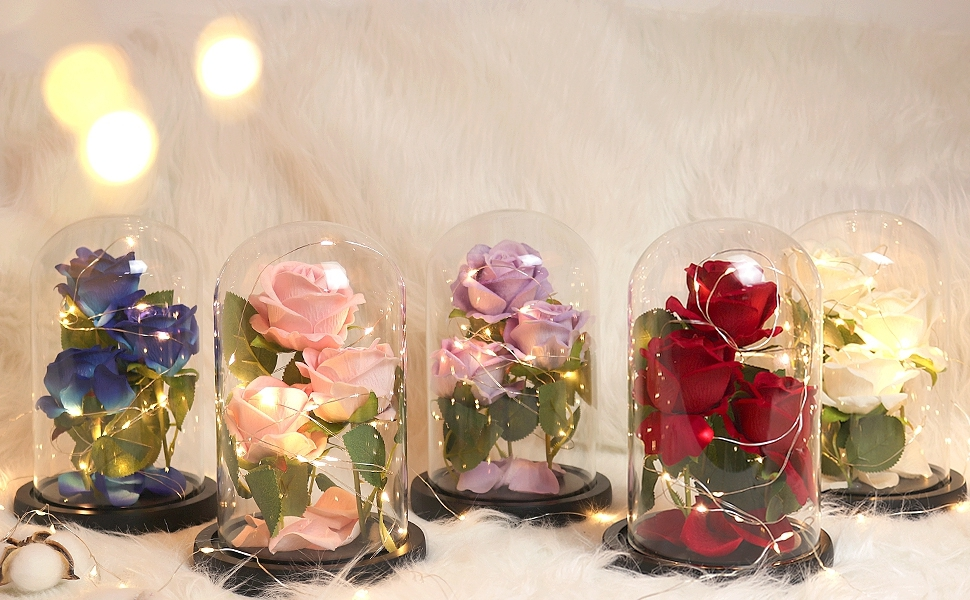 Galaxy Rose Flower Beauty and The Beast Rose in Glass Dome Rose Flower Enchanted Glass Rose