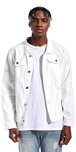 Mens Jean Jacket Ripped Slim Jean Jacket Coat for Men