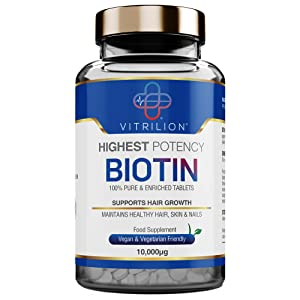 Biotin 10,000mcg - Vitamin B7 for Hair Growth, Healthy Skin - Made By Vitrilion