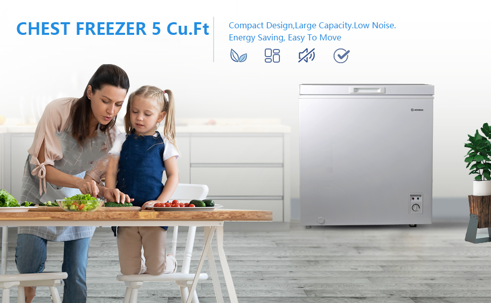 Deep freezer for Home Deep Compact Freezer with Removable Basket apartment Kitchen MOOSOO Chest Freezer 5.0 Cubic Feet Temperature Control White Basement Low Noise /& Energy Saving Garage