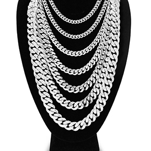 Miami Cuban Link Chain Necklace Fashion Jewelry For Men Boys Hip-Hop Style Stainless Steel Silver