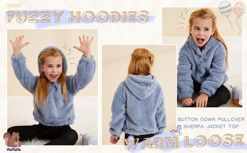 Kids Girls Fuzzy Fleece Hoodies